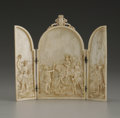 Decorative Arts, Continental:Other , An Exquisitely Carved and Translucent French Ivory Triptych.Unknown maker, possibly Dieppe, France. Late Eighteenth/Early...