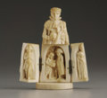 Decorative Arts, Continental:Other , A French Carved Ivory Triptych. Unknown maker, possibly Dieppe,France. Late Nineteenth/ Early Twentieth Century. Ivory. U...