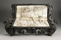 Decorative Arts, Continental:Other , A Continental Carved Ivory Plaque. Unknown maker, Continental.Nineteenth Century. Ivory and ebonized wood. Unmarked. 15.2...