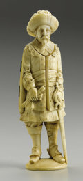 Decorative Arts, Continental:Other , A Superb European Carved Ivory Figure of a Cavalier. Unknown maker,Continental. Eighteenth/Nineteenth Century. Ivory. Unm...