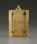 Decorative Arts, Continental:Other , A European Carved Ivory Triptych. Unknown maker, Continental.Eighteenth/Nineteenth Century. Ivory. Unmarked. 5.62 in. hig...