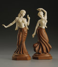 Decorative Arts, Continental:Other , Two Indian Carved Ivory and Wood Figures. Unknown maker, India.Ivory and wood. Twentieth Century. Marks: Inscribed on re...(Total: 2 Items)