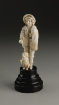 Decorative Arts, Continental:Lamps & Lighting, A European Carved Ivory Beggar. Unknown maker, Continental. Ivoryand ebonized wood. Late Nineteenth/Early Twentieth Centu...