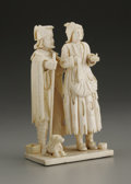 Decorative Arts, Continental:Other , A European Carved Ivory Figural Group. Unknown maker, Continental.Nineteenth Century. Ivory. Unmarked. 4.62 in. high. A...