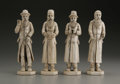 Decorative Arts, Continental:Other , A Set of Four Eastern European Carved Ivory Hasidic Figures.Unknown maker, Eastern European. Nineteenth Century. Ivory. U...
