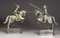 Decorative Arts, Continental:Other , A Pair Of Silver Jousting Equestrians. American. Twentieth Century.Silver, silver gilt, ivory and hardstone cabochons. Ma... (Total: 2)