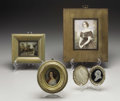 Decorative Arts, Continental:Other , Four Continental Miniature Paintings. Continental. Late Nineteenth/ Early Twentieth Century. Three painted ivory, one com... (Total:4 Items)