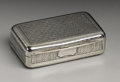 Silver Smalls:Snuff Boxes, A George III Silver Snuff Box. Thomas Phipps & Edward Robinson,London, England. 1802-03. Silver and silver gilt. Marks: ...