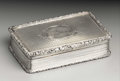 Silver Smalls:Snuff Boxes, A Victorian Silver Snuff Box . Nathaniel Mills, Birmingham,England. 1849-50. Silver and silver gilt. Marks: (lion passan...
