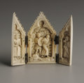 Decorative Arts, Continental:Other , A Continental Carved Ivory Triptych. Unknown maker, Continental.Nineteenth Century. Ivory. Unmarked. 2.5 in. x 3 in. (ope...