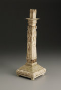 Decorative Arts, Continental:Other , A European Bone Partial Overlaid Wood Candlestick. Unknown maker,Continental. Eighteenth/Nineteenth Century. Bone and woo...