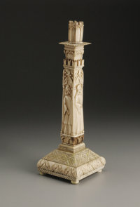 A European Bone Partial Overlaid Wood Candlestick  Unknown maker, Continental Eighteenth/Nineteenth Century Bone and woo...