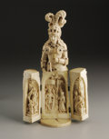 Decorative Arts, Continental:Other , A French Carved Ivory Triptych. Unknown maker, possibly Dieppe,France. Nineteenth Century. Ivory. Unmarked. 9.62 in. high...
