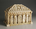 Decorative Arts, Continental:Other , AN Italian Grand Tour Carved Bone Reliquary Casket. Unknown maker,Italy. Eighteenth Century. Bone and wood. Unmarked. 8.7...