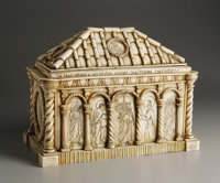 AN Italian Grand Tour Carved Bone Reliquary Casket  Unknown maker, Italy Eighteenth Century Bone and wood Unmarked 8.7...