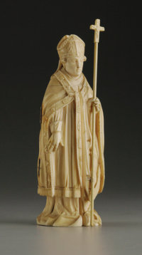 A French Carved Ivory Triptych  Unknown maker, possibly Dieppe, France Nineteenth Century Ivory Unmarked 6.75 in. high...