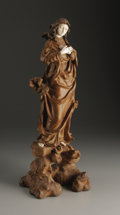 Decorative Arts, Continental:Other , A European Wood and Ivory Figure. Unknown maker, possibly German.Nineteenth Century. Wood and ivory. Unmarked. 15.5 in. h...