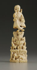 Decorative Arts, Continental:Other , An Important European Two-Part Carved Ivory Hierarchal Group.Unknown maker, Continental. Seventeenth/Eighteenth Century. ...