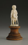 Decorative Arts, Continental:Other , A European Carved Ivory Figure. Unknown maker, Continental. LateNineteenth Century. Ivory and wood. Unmarked. 3 in. high...