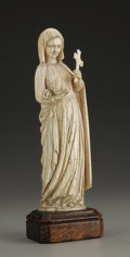 Decorative Arts, Continental:Other , A European Carved Ivory Figure. Unknown maker, Continental. LateNineteenth/Twentieth Century. Ivory and wood. Unmarked. 6...