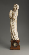 Decorative Arts, Continental:Other , A Chinese Carved Ivory Figure. Unknown maker, China.Nineteenth/Twentieth Century. Ivory and wood. Unmarked. 23.25 in.hig...