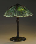 Decorative Arts, American:Lamps & Lighting, An American Leaded Glass and Bronze Table Lamp. Tiffany Studios, New York, New York. Circa 1910. Leaded glass, patinated b...