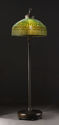 An American Leaded Glass and Bronze Floor Lamp  Tiffany Studios, New York, New York Early Twentieth Century Leaded glass...