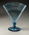Art Glass:Steuben, An American Glass Vase. Steuben, 1926. The fan vase in 'Marina Blue' with applied threading to the rim and internal ai...