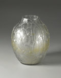 Art Glass:Other, A French Molded and Frosted Glass Vase. Andre Hunebelle, France.Circa 1920-1930. Frosted and clear glass. Marks: molded i...