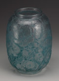 Art Glass:Lalique, A French Glass Vase. R. Lalique, 1914. The clear vase in the 'Monnaie du Pape' pattern with green patination, marked u...