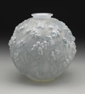 Art Glass:Lalique, A French Art Glass Vase. Rene Lalique, Paris, France. Designed1924. Molded, frosted and patinated glass. Marks: R Lali...