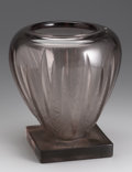 Art Glass:Other , A French Glass Vase. Verlys, 1930. The tapering purple body with stylized foliate reserves with frosted and textured f...