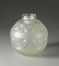 Art Glass:Other , A French Molded And Frosted Vase. Etling, France. Circa 1930.Frosted glass. Marks: molded in base Etling / France, an...