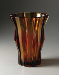 Art Glass:Other , A Large Czechoslovakian Amber Glass Vase. Czechoslavakia. Circa1930. Amber glass. Marks: molded on the foot Czechoslava...
