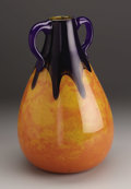 Art Glass:Other , A Contemporary Glass Vase. Maker unknown, Twentieth Century. The mottled orange vase with a cobalt blue neck and appli...