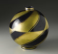 Art Glass:Other , A French Art Deco Pottery Vase. French. Circa 1930. Pottery,enamel, gilt. Marks: on base Fabrication Francaise / C an...