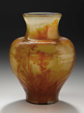 Glass, A French Art Glass Vase. Emile Galle, Nancy, France. Late Nineteenth Century. Cameo glass. Marks: GALLE. 11.5 in. hig...