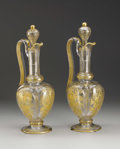 Art Glass:Other , A Pair of French Etched and Gilt Glass Ewers. Possibly Baccarat,France. Circa 1840-50. Glass with gilding. Unmarked. 13.6...(Total: 2 )