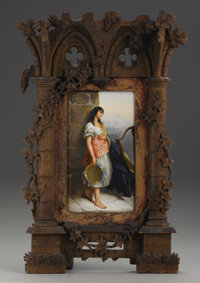 A Continental Porcelain Plaque in Carved Architectural Frame  Possibly Germany Late Nineteenth Century Porcelain with po...