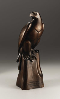 A Continental Carved Wood Figure of a Falcon  P. Hubbler, possibly Switzerland Mid Twentieth Century Carved walnut Mark...