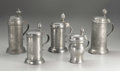 Silver Holloware, Continental:Holloware, A Group of Five German Pewter Tankards . Unknown makers, Germany.Eighteenth and Nineteenth Centuries. Pewter. Unmarked. 8... (Total:5 )