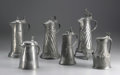 Silver Holloware, Continental:Holloware, A Group of Six German Pewter Flagons . Unkown makers, Germany.Nineteenth Century. Pewter. Unmarked. Five of tapered cyl...(Total: 6 )