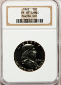 Proof Franklin Half Dollars, 1962 50C PR67 Cameo NGC. PCGS Population (1023/332). NGC Census:(2664/1327). Numismedia Wsl. Price for problem free NGC/P...