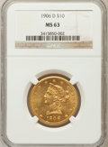 Liberty Eagles: , 1906-D $10 MS63 NGC. NGC Census: (589/171). PCGS Population(448/206). Mintage: 981,000. Numismedia Wsl. Price for problem ...