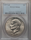 Eisenhower Dollars: , 1977-D $1 MS66 PCGS. PCGS Population (427/5). NGC Census: (1756/8).Mintage: 32,983,006. Numismedia Wsl. Price for problem ...