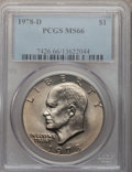 Eisenhower Dollars: , 1978-D $1 MS66 PCGS. PCGS Population (526/1). NGC Census: (571/4). Mintage: 33,012,890. Numismedia Wsl. Price for problem f...