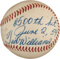 Baseball Collectibles:Balls, 1959 Ted Williams 2,500th Career Hit Baseball Given to JohnnyOrlando....