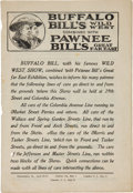 Entertainment Collectibles:Theatre, Buffalo Bill and Pawnee Bill: Local Program for their Joint Show. ...