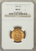 Liberty Half Eagles: , 1902 $5 MS63 NGC. NGC Census: (252/147). PCGS Population (212/103).Mintage: 172,400. Numismedia Wsl. Price for problem fre...