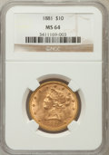 Liberty Eagles: , 1881 $10 MS64 NGC. NGC Census: (40/2). PCGS Population (17/1).Mintage: 3,877,260. Numismedia Wsl. Price for problem free N...